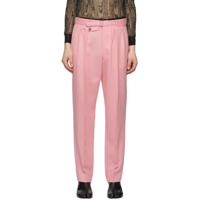 Photo: Maison Margiela Pink Wool Pleated Trousers