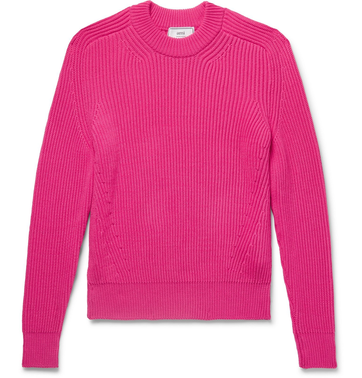 Photo: AMI - Ribbed Cotton-Blend Sweater - Pink
