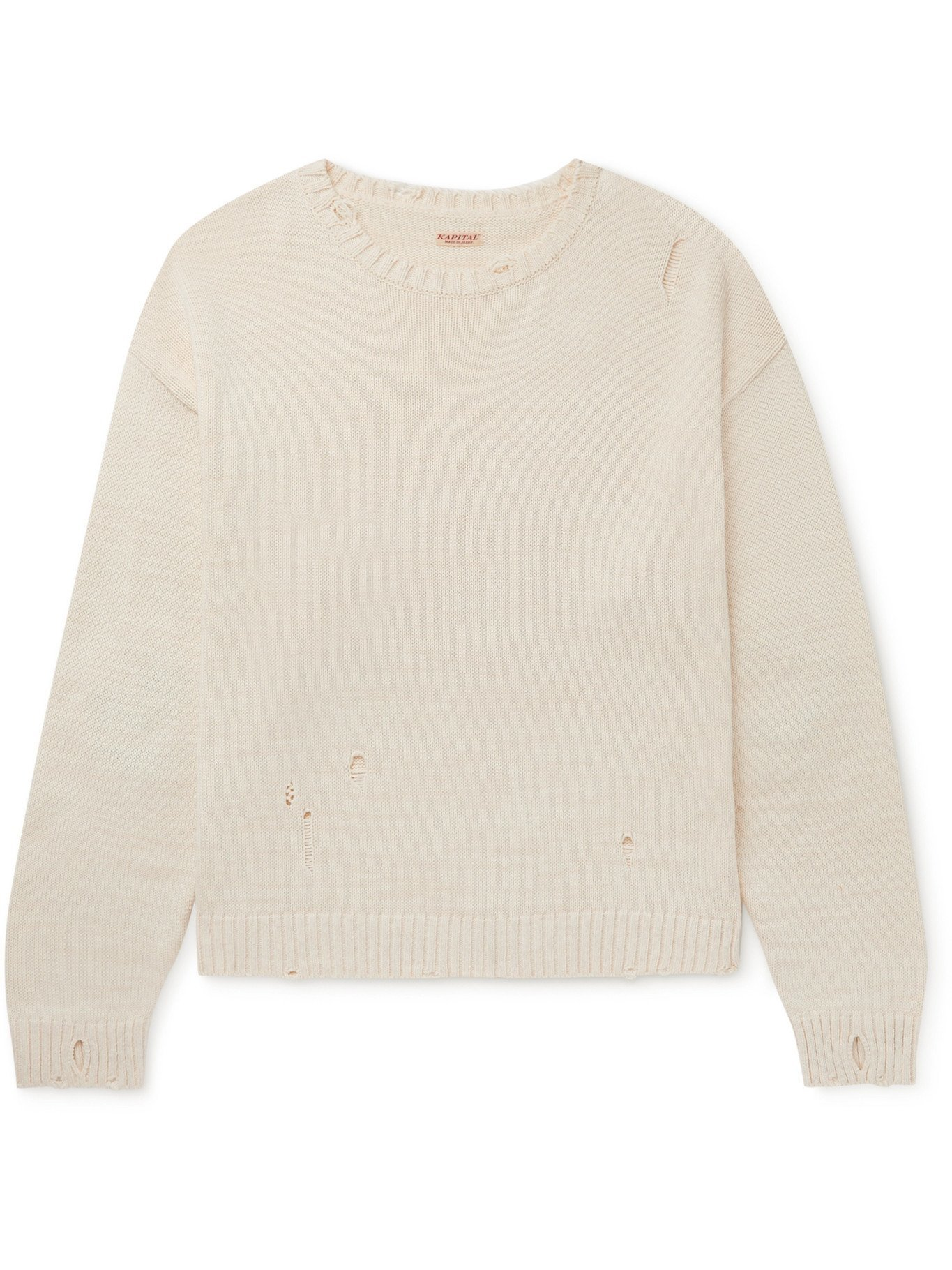 Photo: KAPITAL - Distressed Intarsia Cotton-Blend Sweater - Neutrals