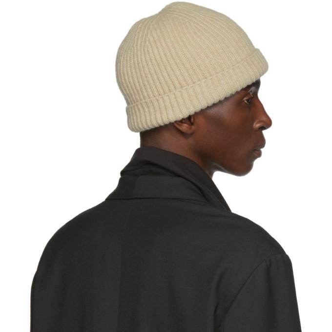 Lemaire Beige Wool Rib Beanie