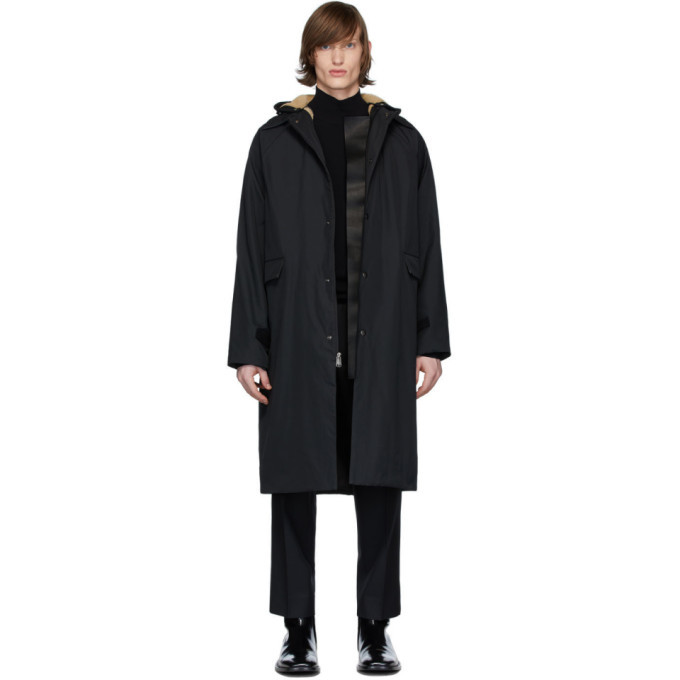 Photo: Kassl Editions Black Canvas Sheepskin Patchwork Coat