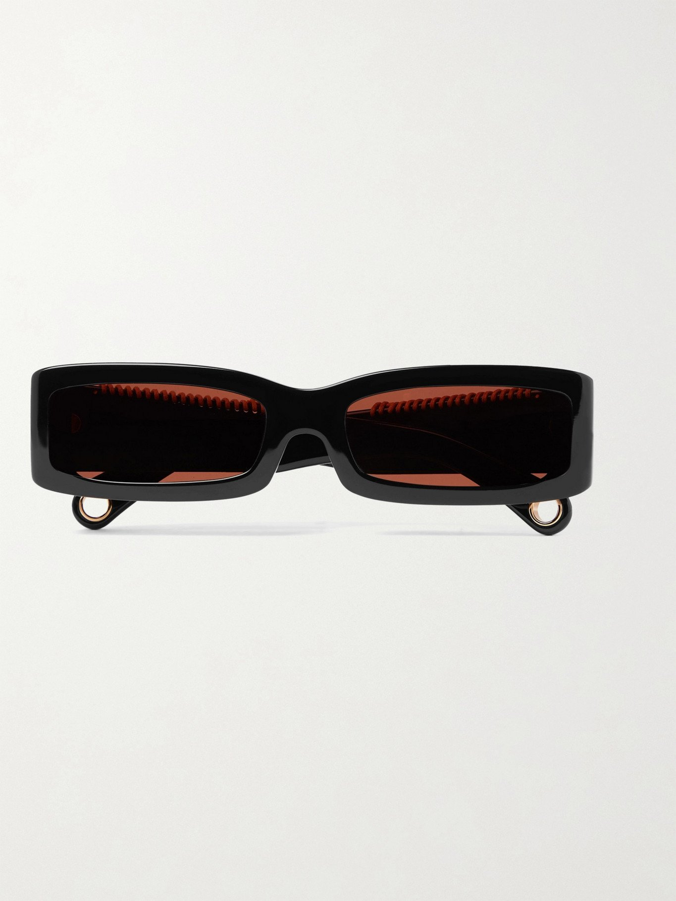 Photo: JACQUEMUS - Les Lunettes 97 Rectangular-Frame Leather-Trimmed Acetate Sunglasses - Black