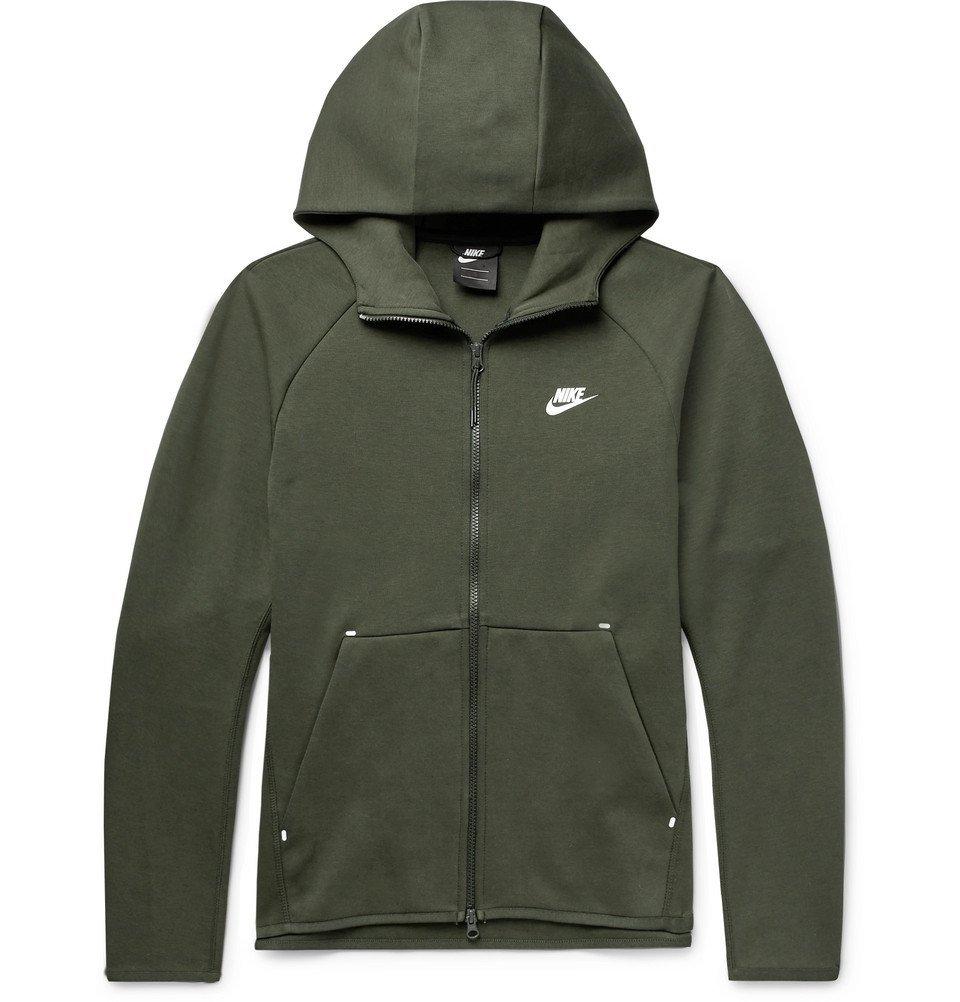Photo: Nike - Sportswear Cotton-Blend Tech-Fleece Zip-Up Hoodie - Dark green