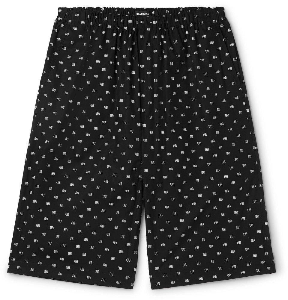 Photo: Balenciaga - Logo-Jacquard Cotton-Poplin Shorts - Black