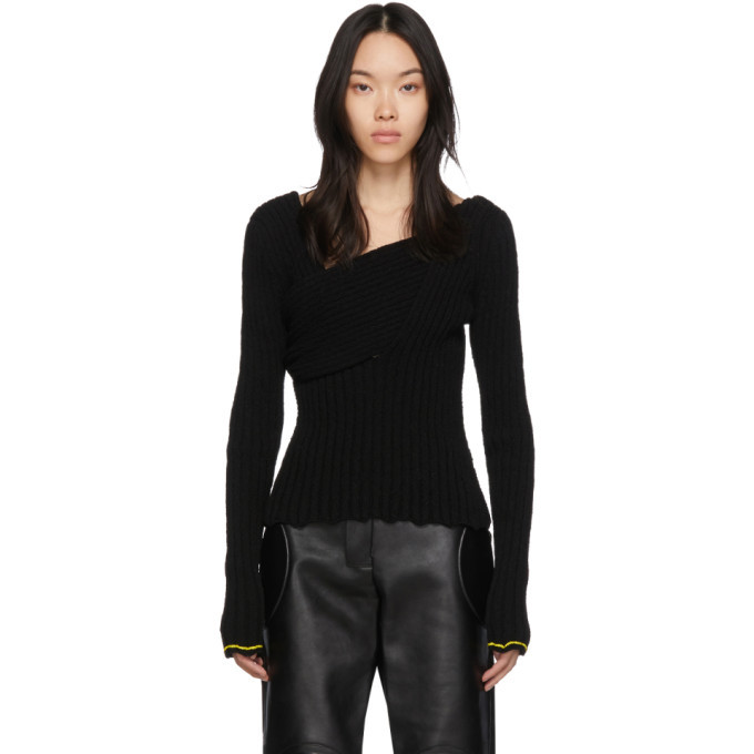 Photo: Bottega Veneta Black Boucle Draped Sweater