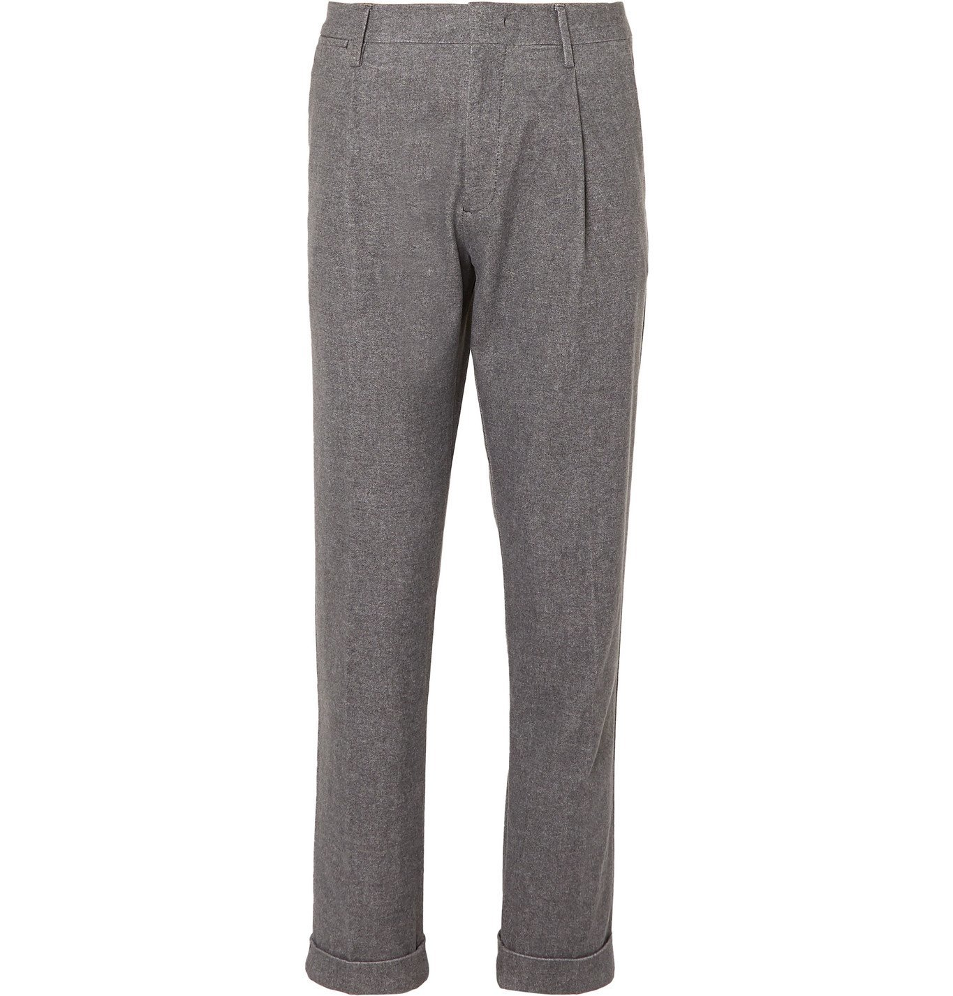 Photo: NN07 - Codo Tapered Pleated Mélange Cotton-Blend Chinos - Gray