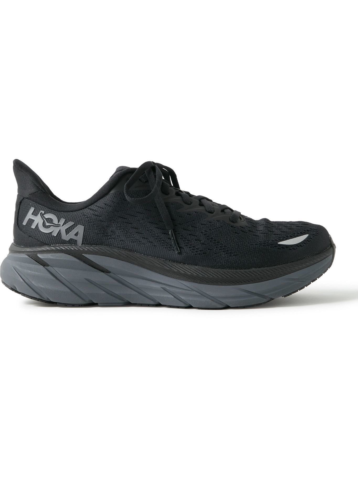 Photo: Hoka One One - Clifton 8 Rubber-Trimmed Mesh Running Sneakers - Black