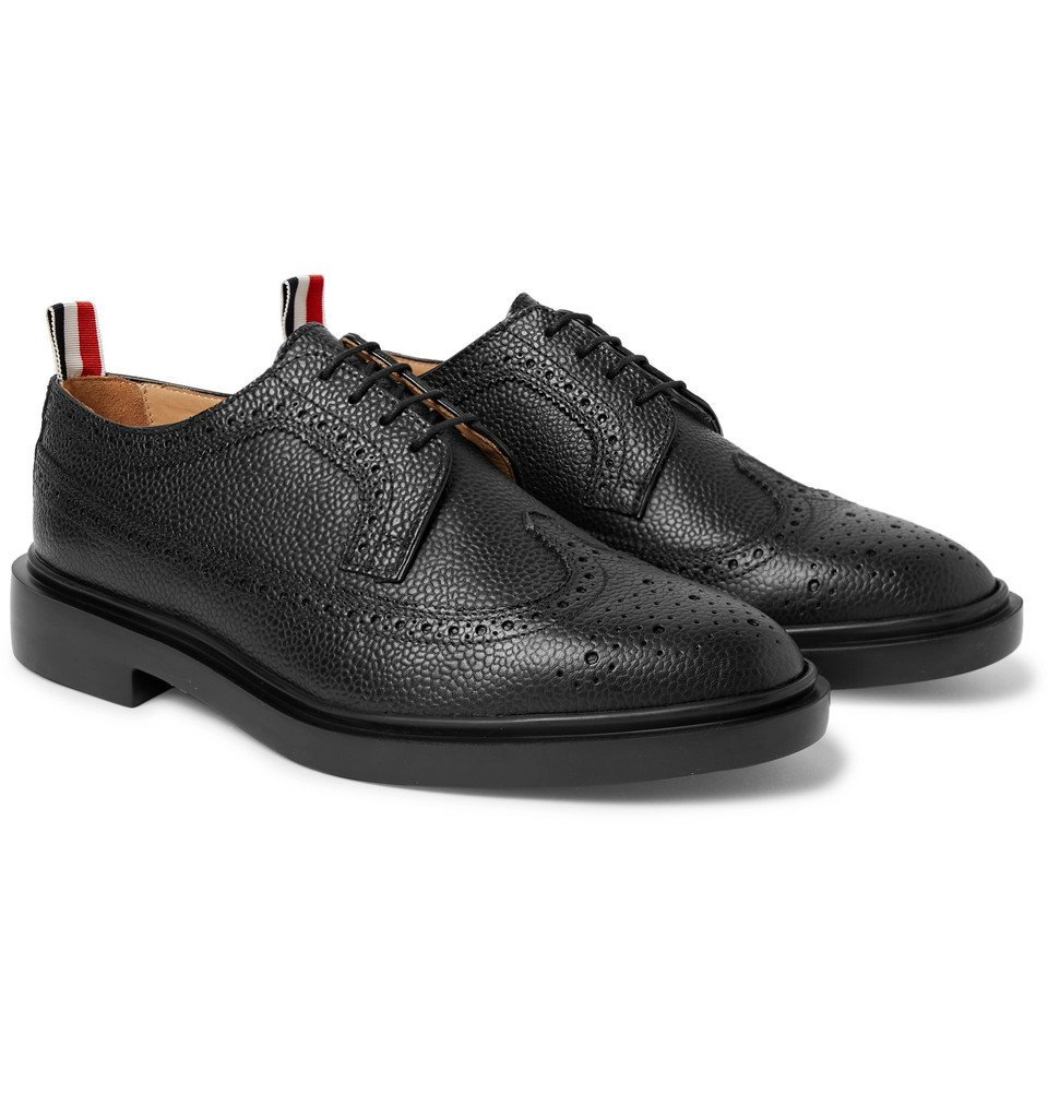 Photo: Thom Browne - Pebble-Grain Leather Longwing Brogues - Black