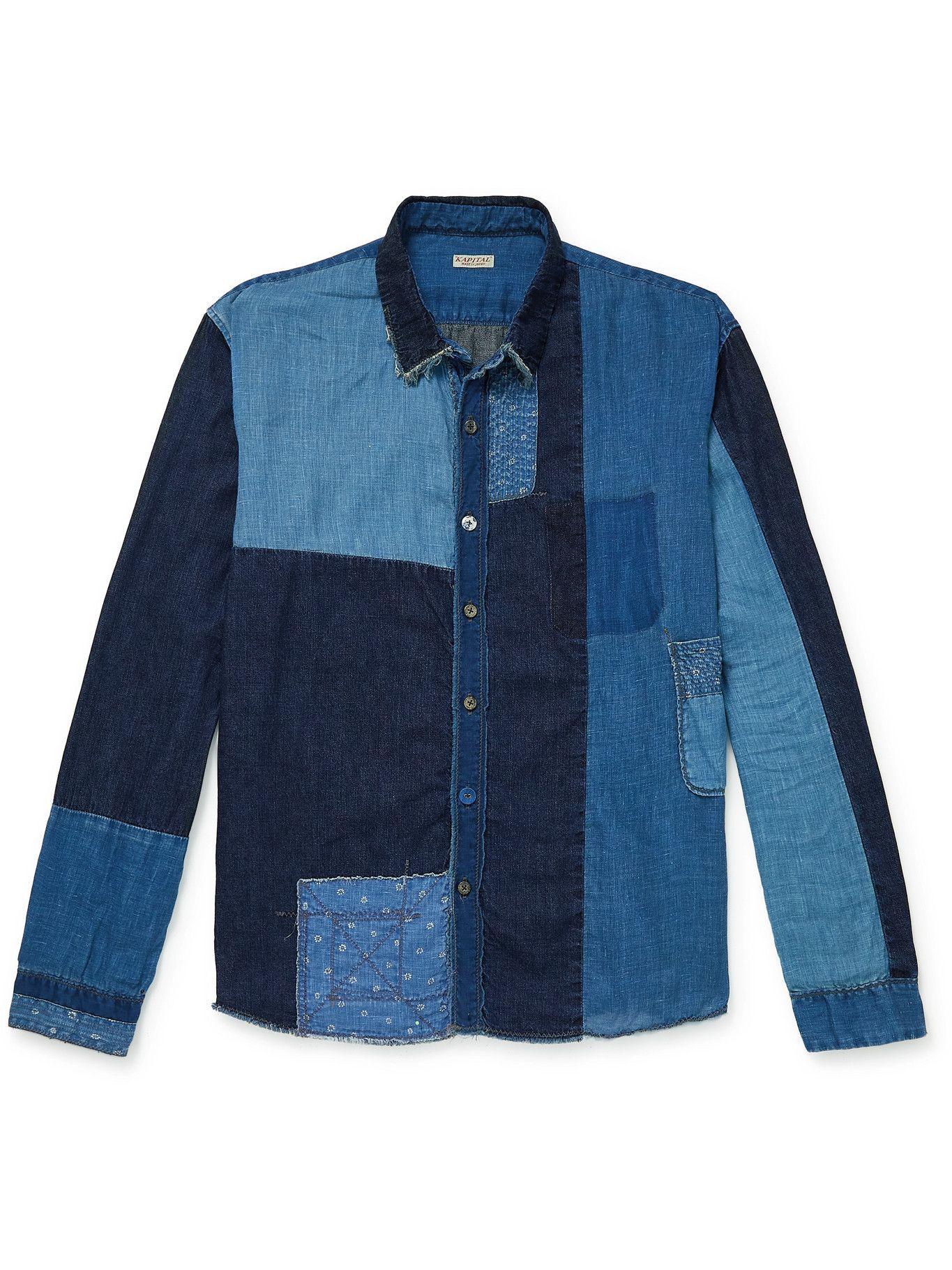 Photo: KAPITAL - Printed Patchwork Cotton and Linen-Blend Chambray Shirt - Blue