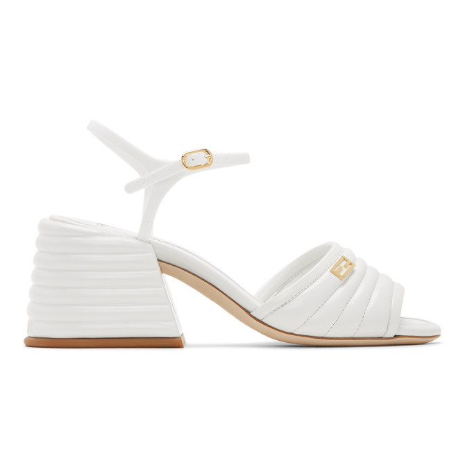 Photo: Fendi White Leather Slingback Heels
