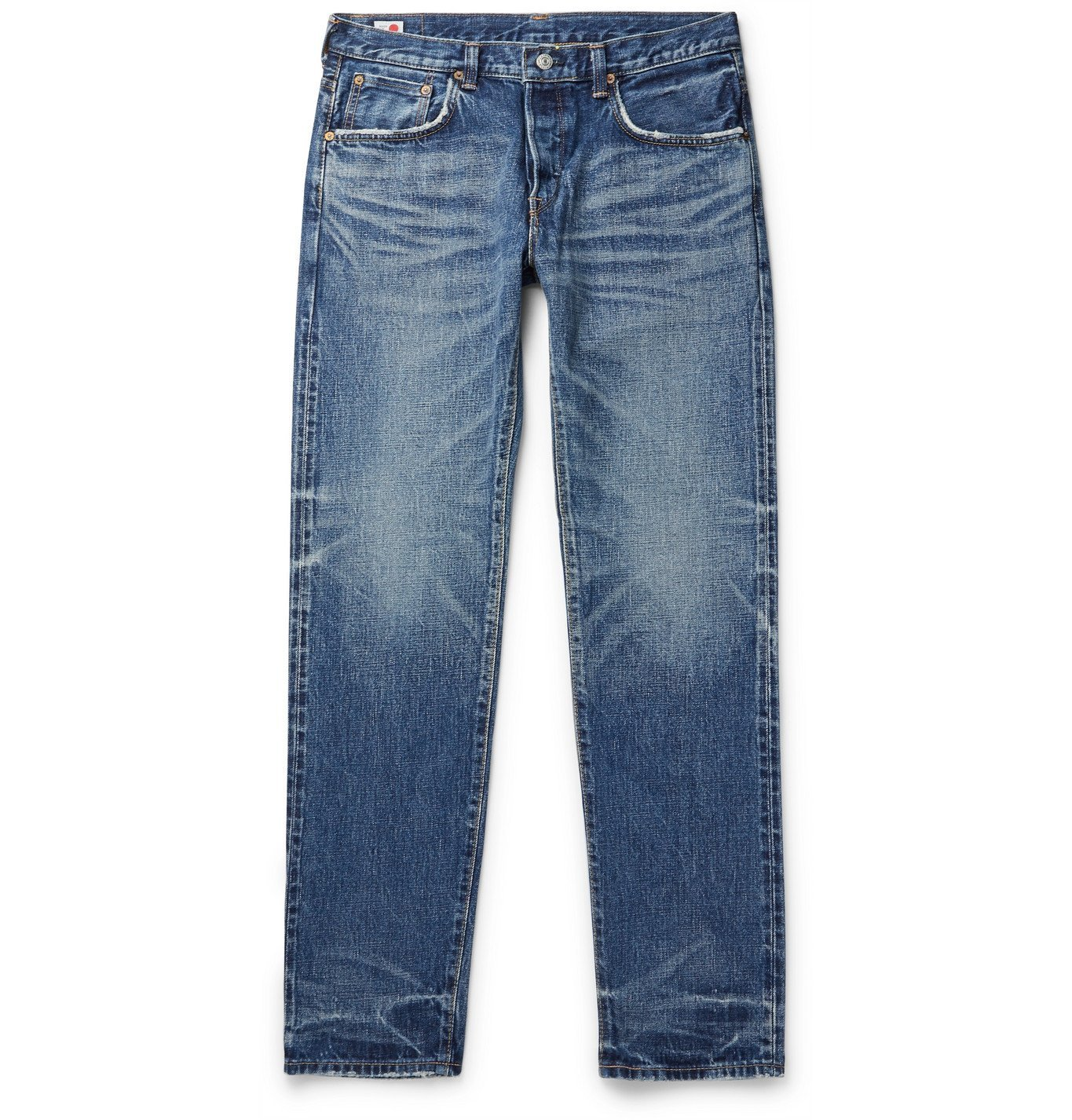 Photo: EDWIN - Slim-Fit Tapered Distressed Selvedge Denim Jeans - Blue