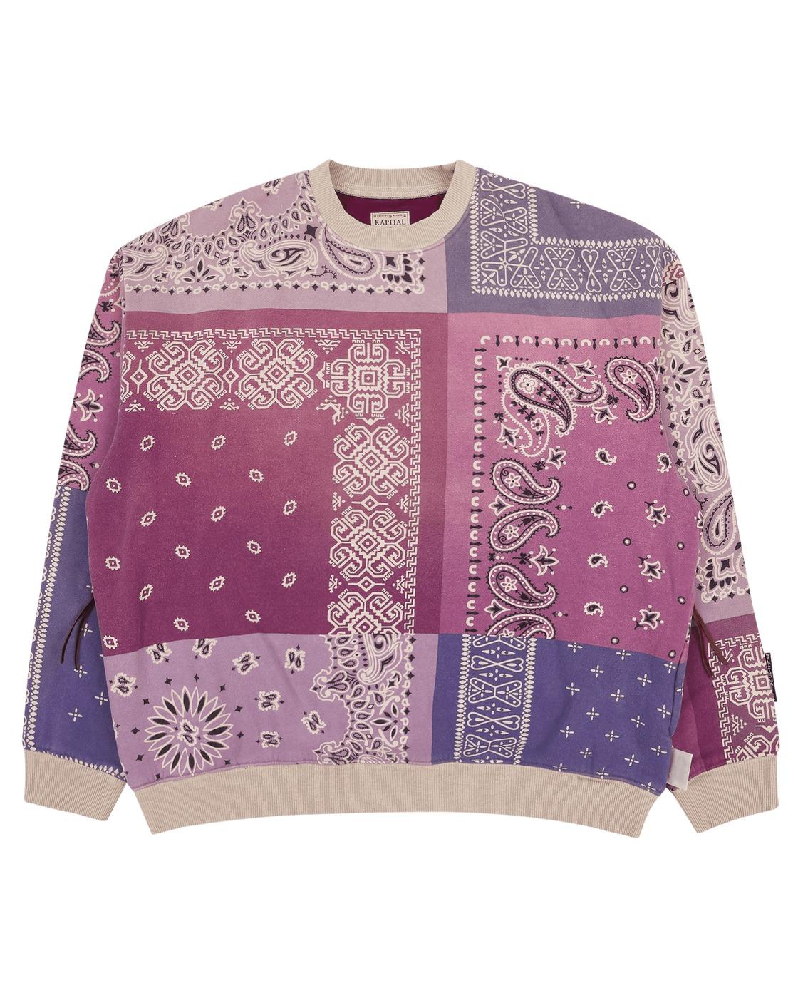 Photo: Kapital Fleecy Knit Bandana Bivouac Big Crewneck Sweatshirt Light Purple