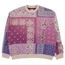 Kapital Fleecy Knit Bandana Bivouac Big Crewneck Sweatshirt Light Purple