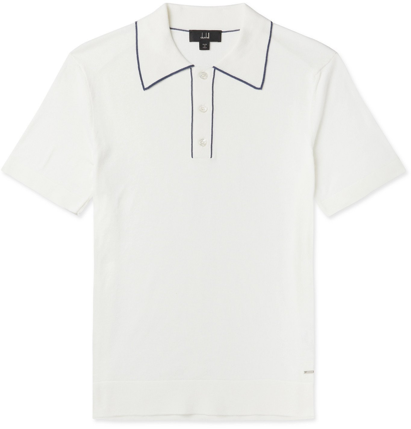 Dunhill - Contrast-Tipped Pima Cotton-Jersey Polo Shirt - White