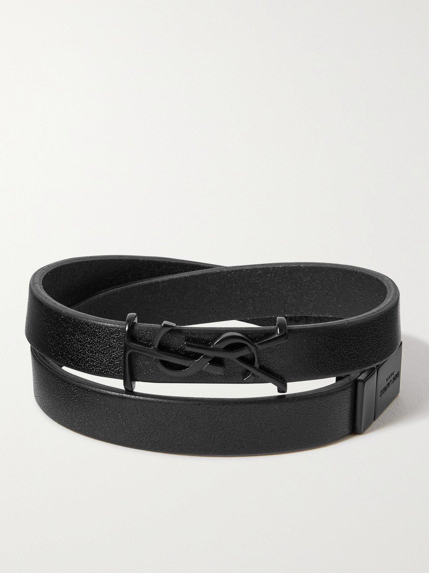 Photo: SAINT LAURENT - Leather Wrap Bracelet - Black