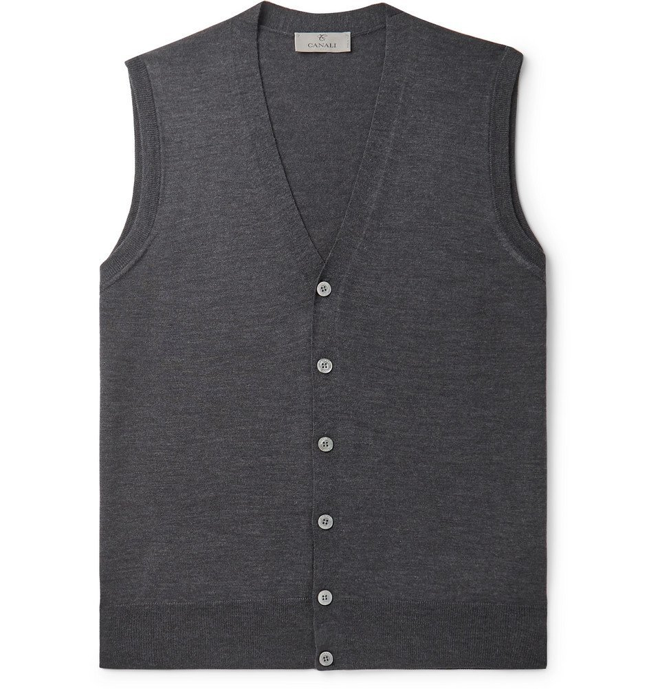Photo: Canali - Merino Wool Sweater Vest - Charcoal