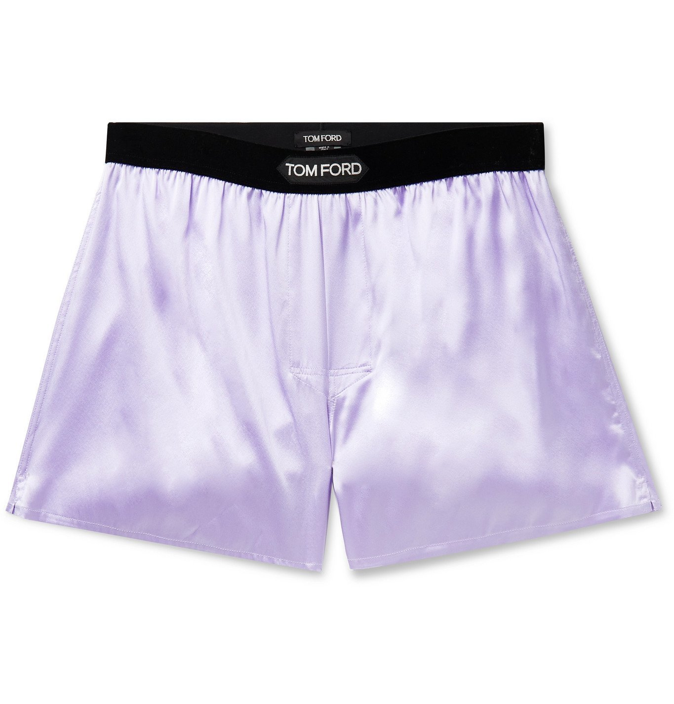 Photo: TOM FORD - Velvet-Trimmed Stretch-Silk Satin Boxer Shorts - Purple