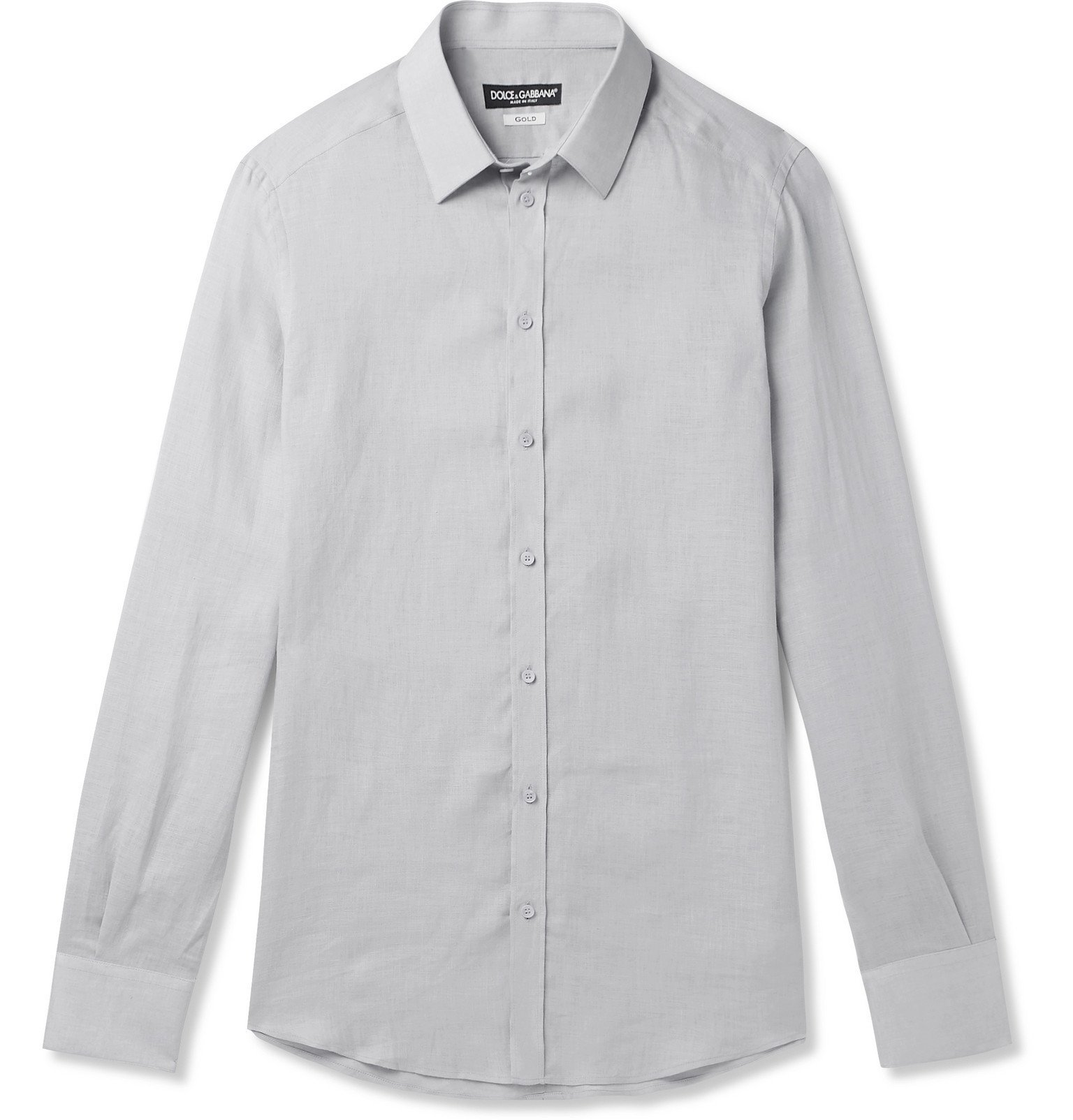 Photo: Dolce & Gabbana - Slim-Fit Linen Shirt - Gray