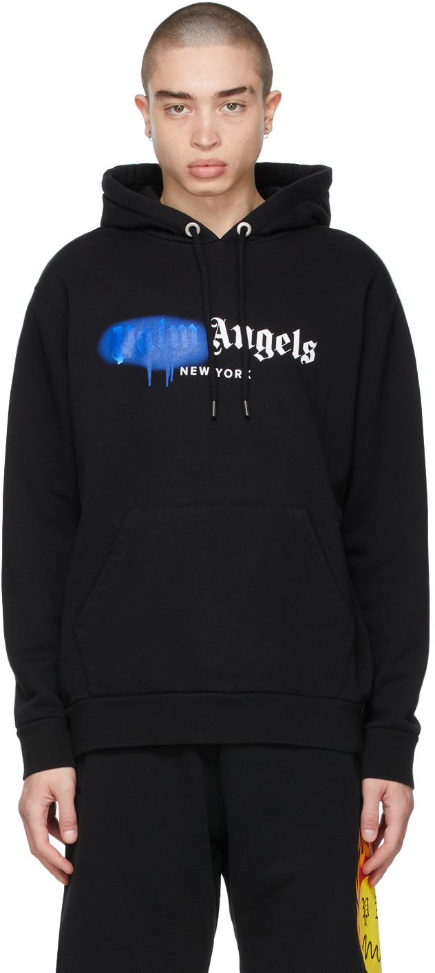 Photo: Palm Angels Black & Blue Sprayed Logo 'New York' Hoodie