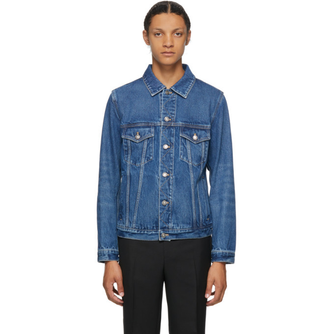 Photo: Givenchy Blue Denim Atelier Logo Classic Fit Jacket
