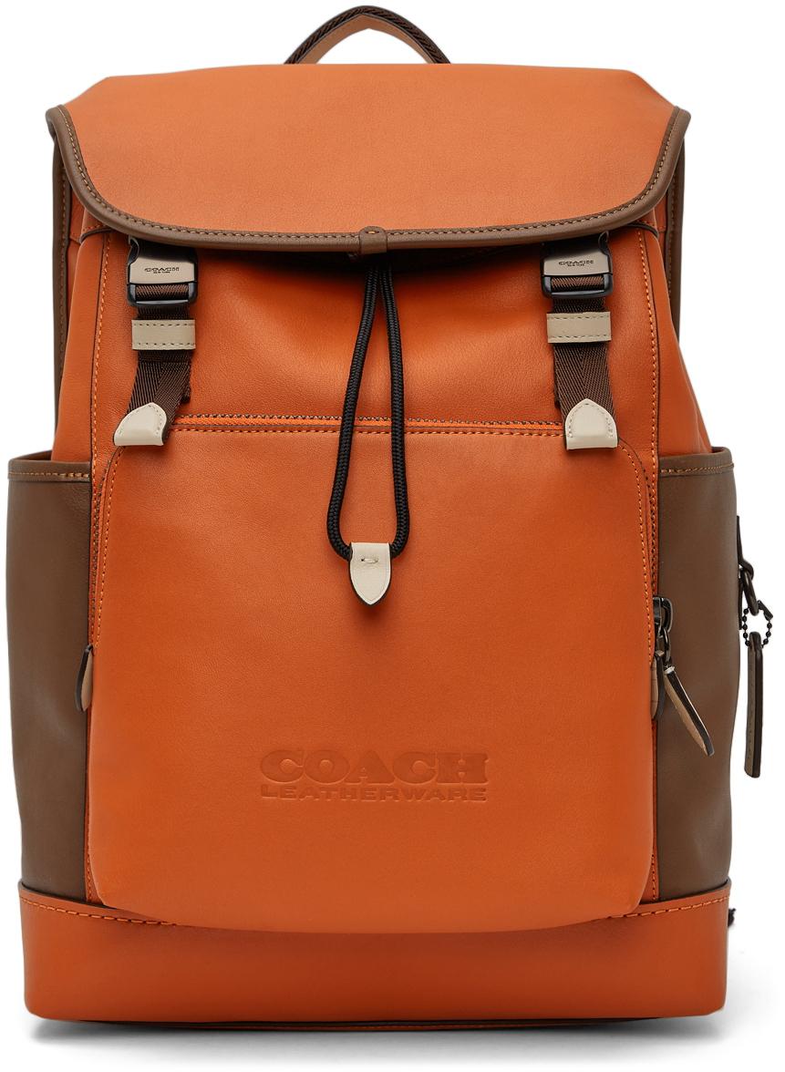 Photo: Coach 1941 Orange & Brown League Flap Backpack