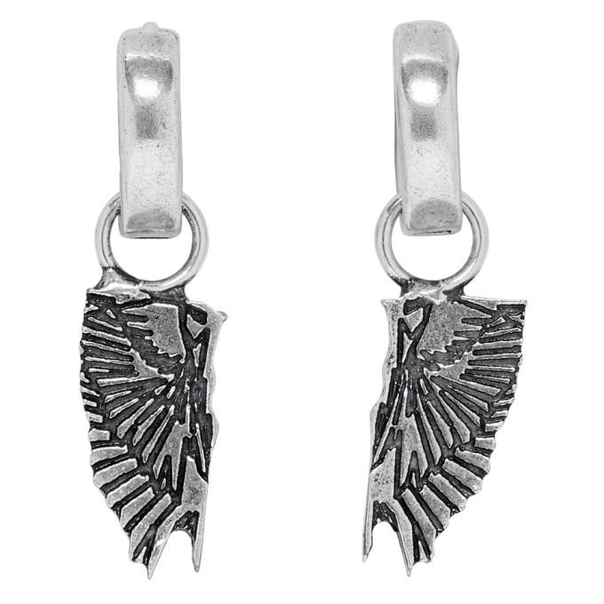 Photo: Marcelo Burlon County of Milan Silver Wings Pendant Hoop Earrings