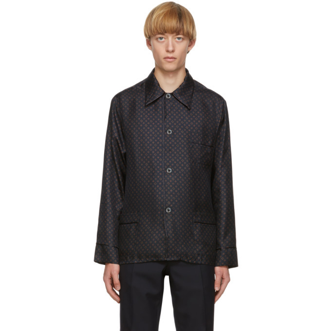 Photo: Maison Margiela Navy Silk Slim-Fit Shirt