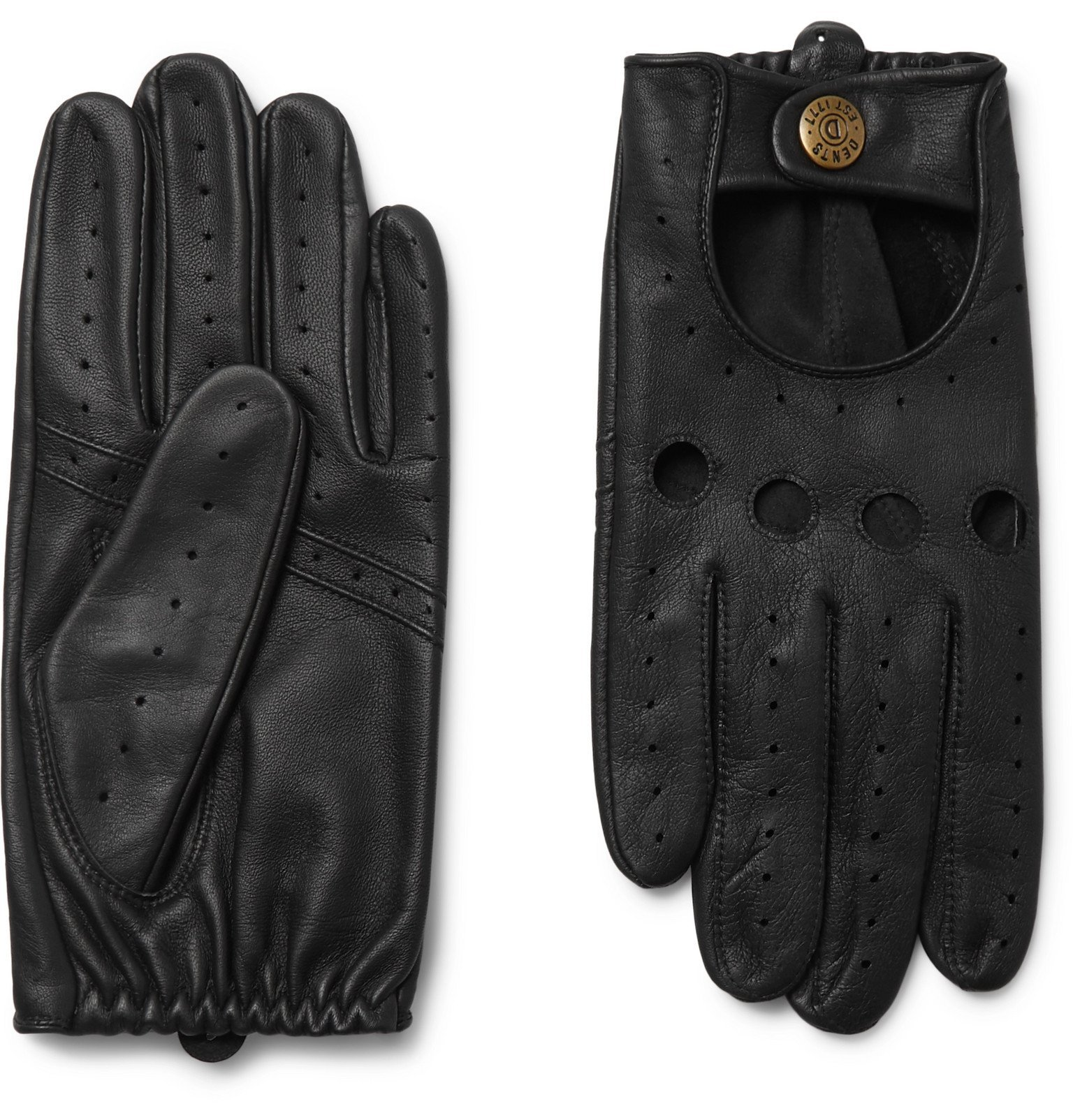 Photo: Dents - Silverstone Touchscreen Leather Driving Gloves - Black