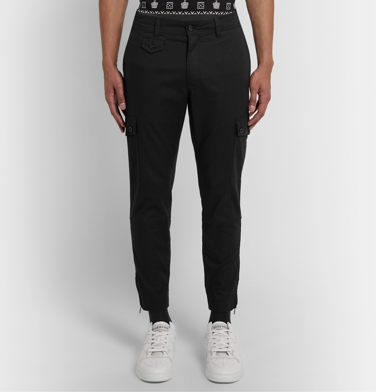 Dolce & Gabbana - Tapered Stretch-Cotton Cargo Trousers - Black