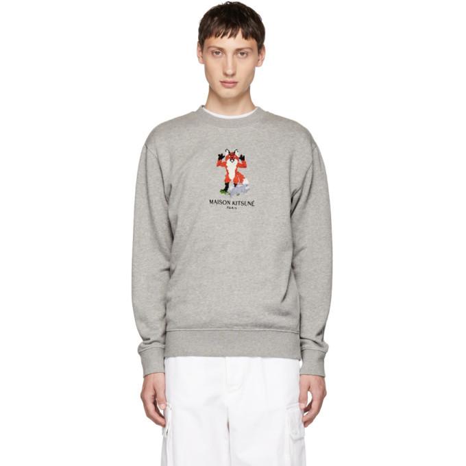 Photo: Maison Kitsune Grey Pixel Fox Sweatshirt