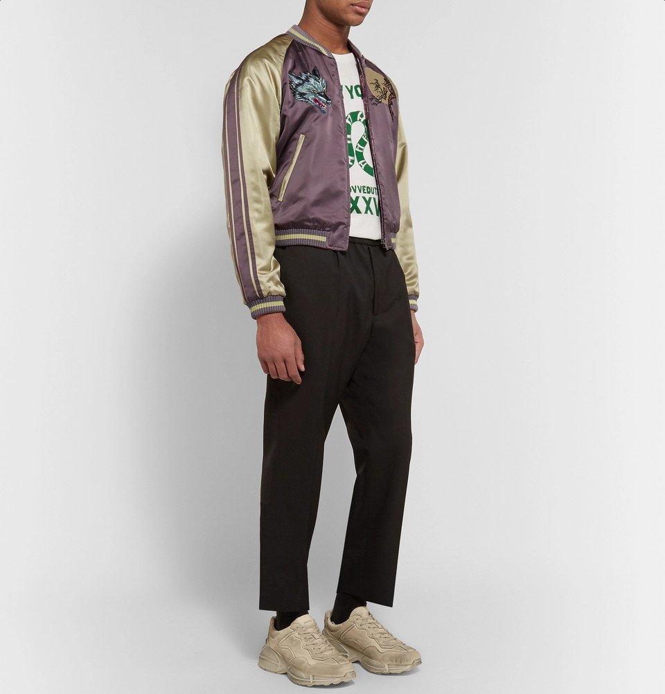2e5f90b4a Gucci - Reversible Appliquéd Satin-Jacquard Bomber Jacket - Men - Lavender