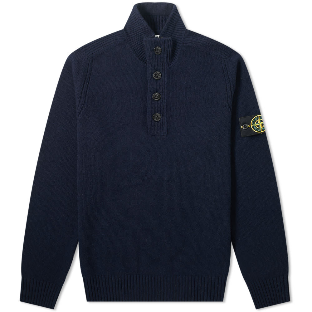 Photo: Stone Island Lambswool Button Half Zip Knit