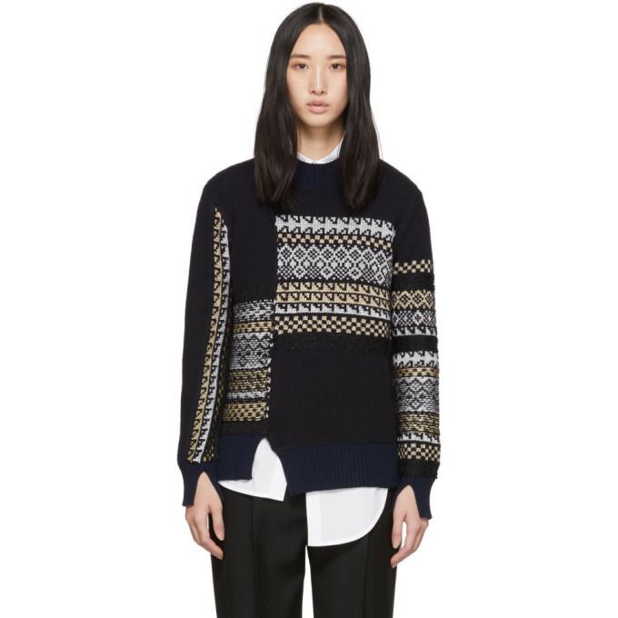 3.1 Phillip Lim Navy Merino Series Patchwork Holiday Sweater