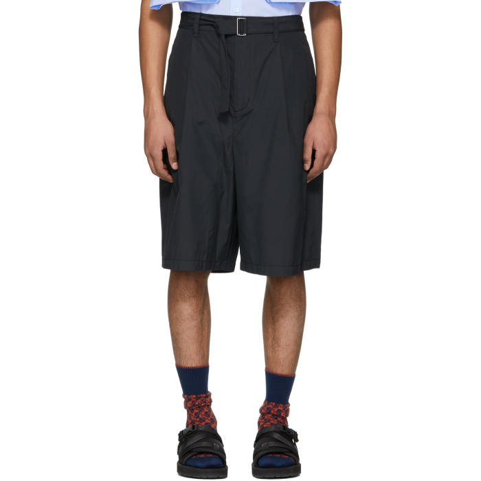 Photo: 3.1 Phillip Lim Navy Relaxed Pleated Belt Shorts