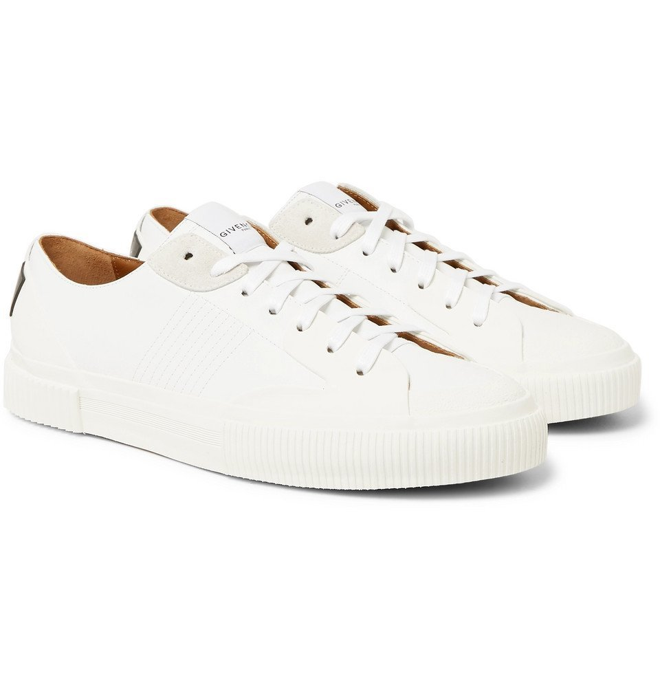 Photo: Givenchy - Logo-Print Rubber and Suede-Trimmed Leather Sneakers - White