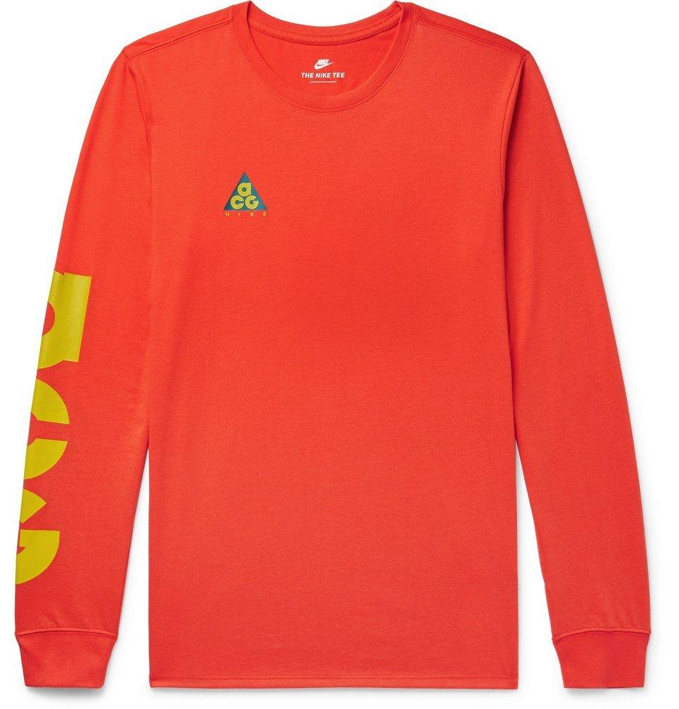 Photo: Nike - ACG Logo-Print Cotton-Blend Jersey T-Shirt - Men - Red
