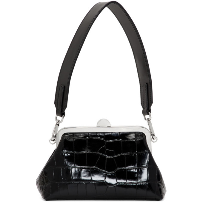 Photo: Marques Almeida Black Croc Mini Clasp Handbag