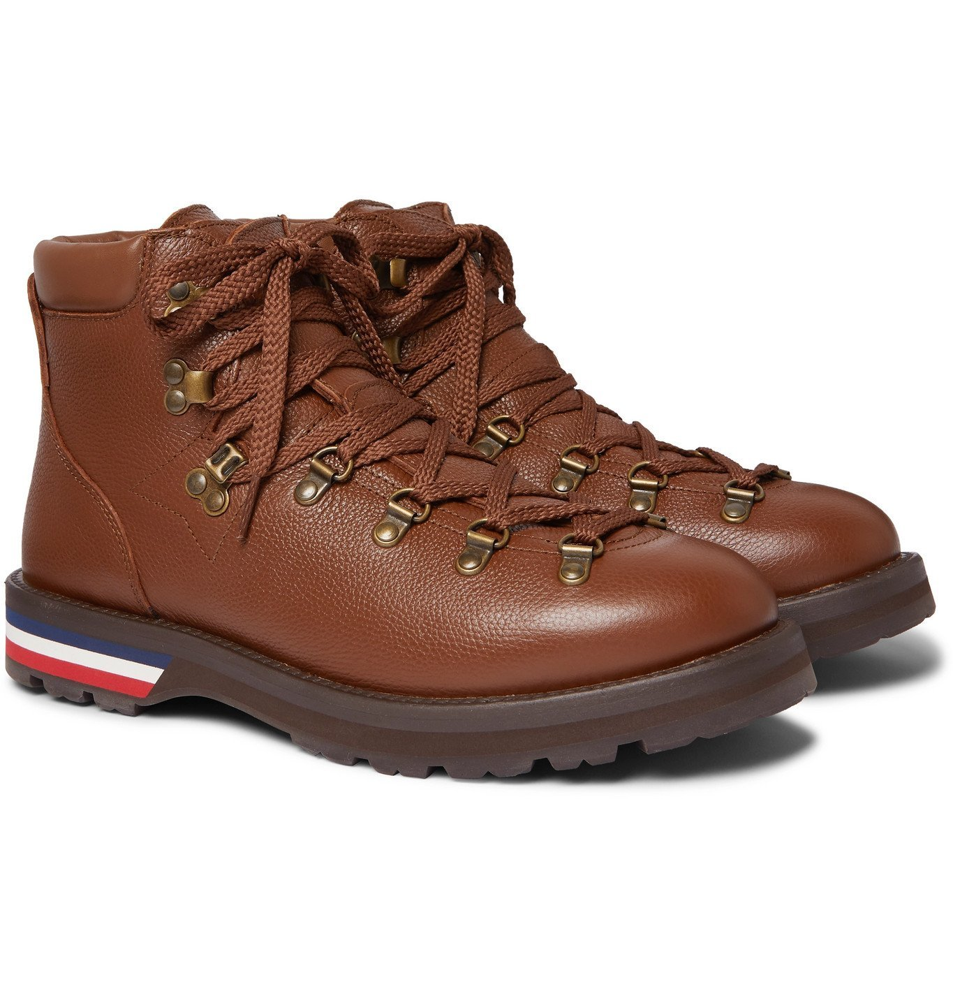 Photo: Moncler - Striped Full-Grain Leather Boots - Brown