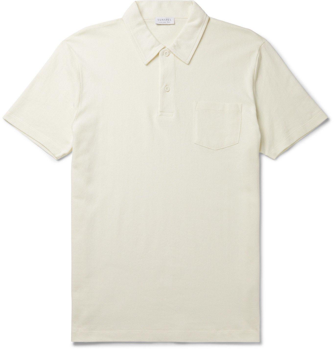 Photo: Sunspel - Riviera Slim-Fit Cotton-Mesh Polo Shirt - White