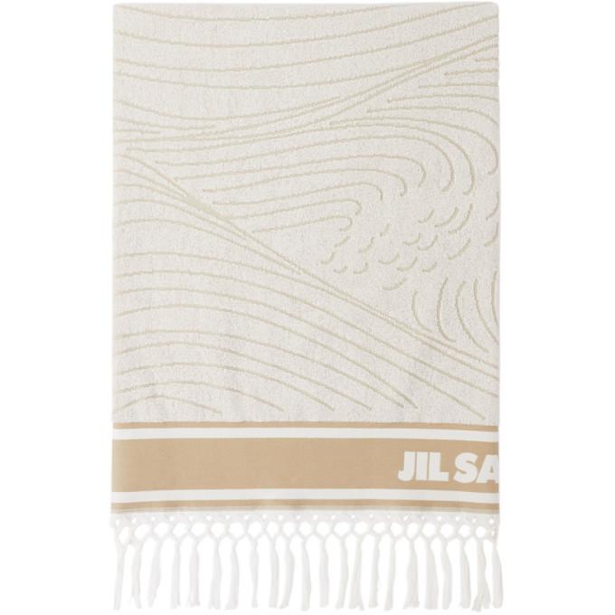 Photo: Jil Sander White and Beige Logo Beach Towel