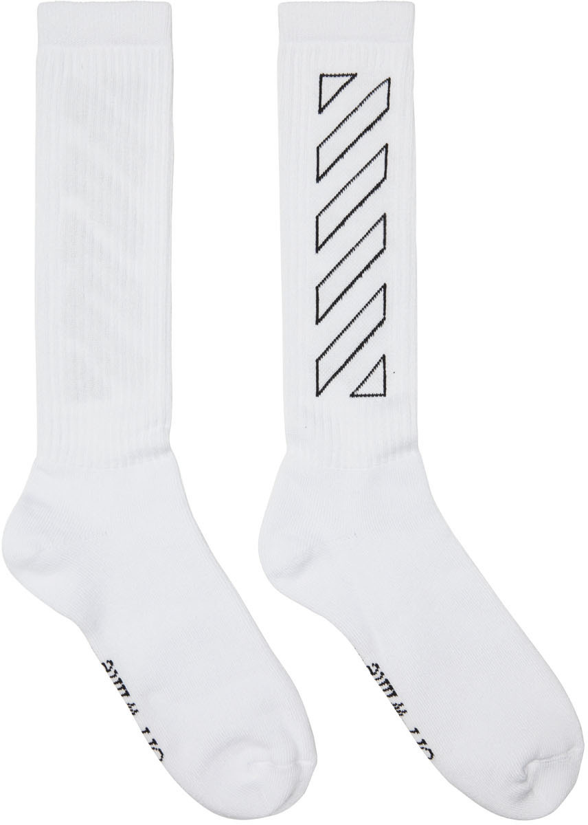 Photo: Off-White White Diagonal Mid Socks