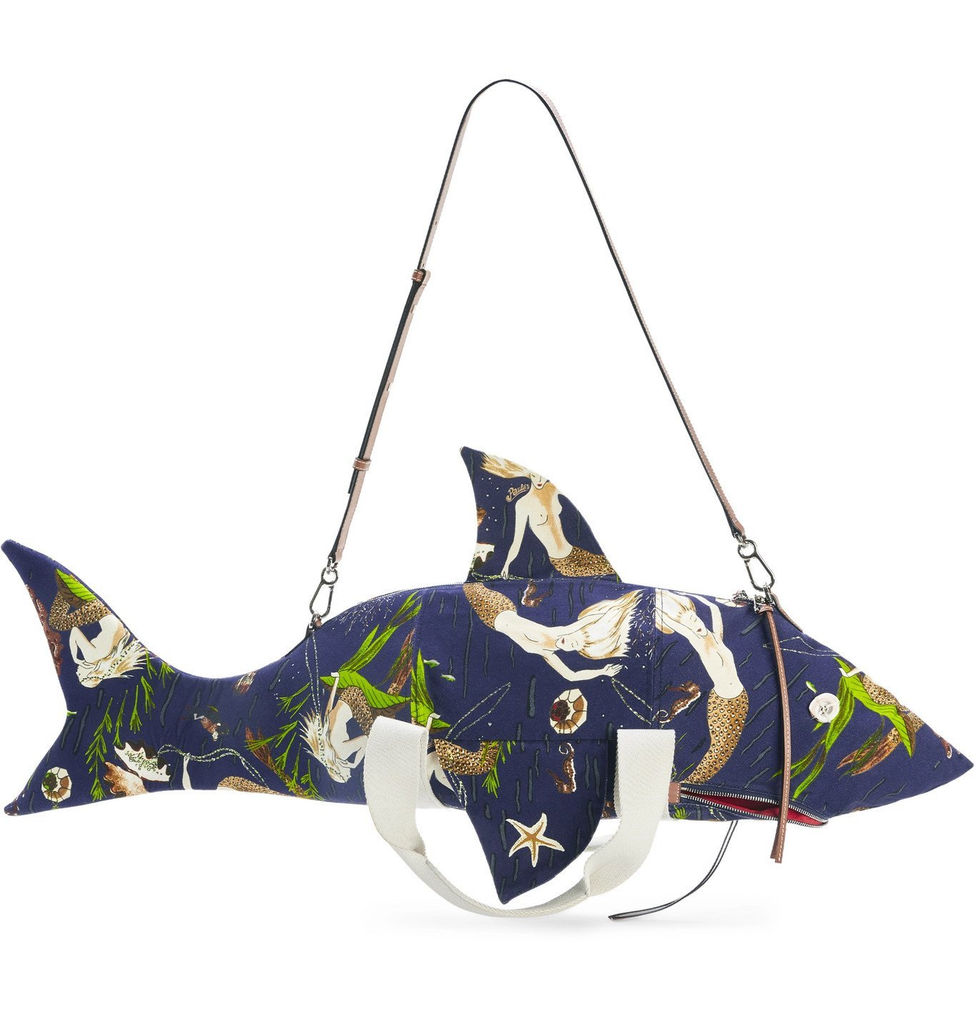 Photo: Loewe - Paula's Ibiza Leather-Trimmed Printed Canvas Crossbody Bag - Blue