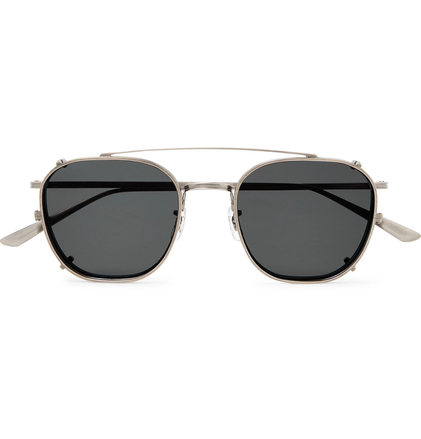 The Row - Oliver Peoples Board Meeting 2 Aviator-Style Silver-Tone Optical Glasses with Clip-On UV Lenses - Silver
