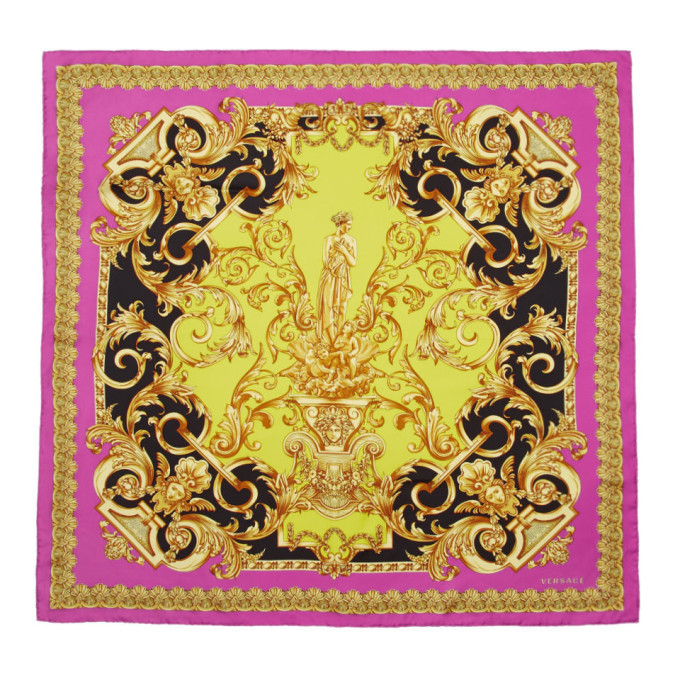 Photo: Versace Pink Silk Barocco Print Scarf