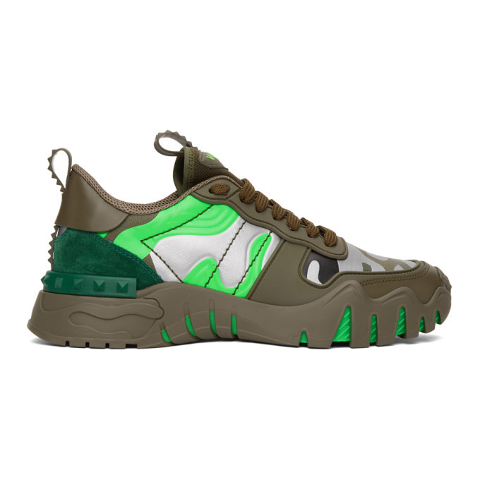 Photo: Valentino Green and Silver Valentino Garavani Camo Rockrunner Sneakers