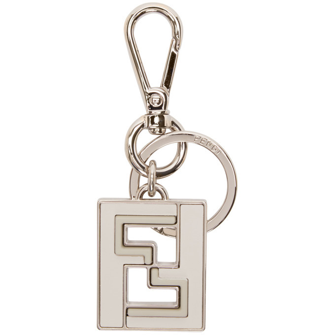 Photo: Fendi Silver and White Forever Fendi Keychain