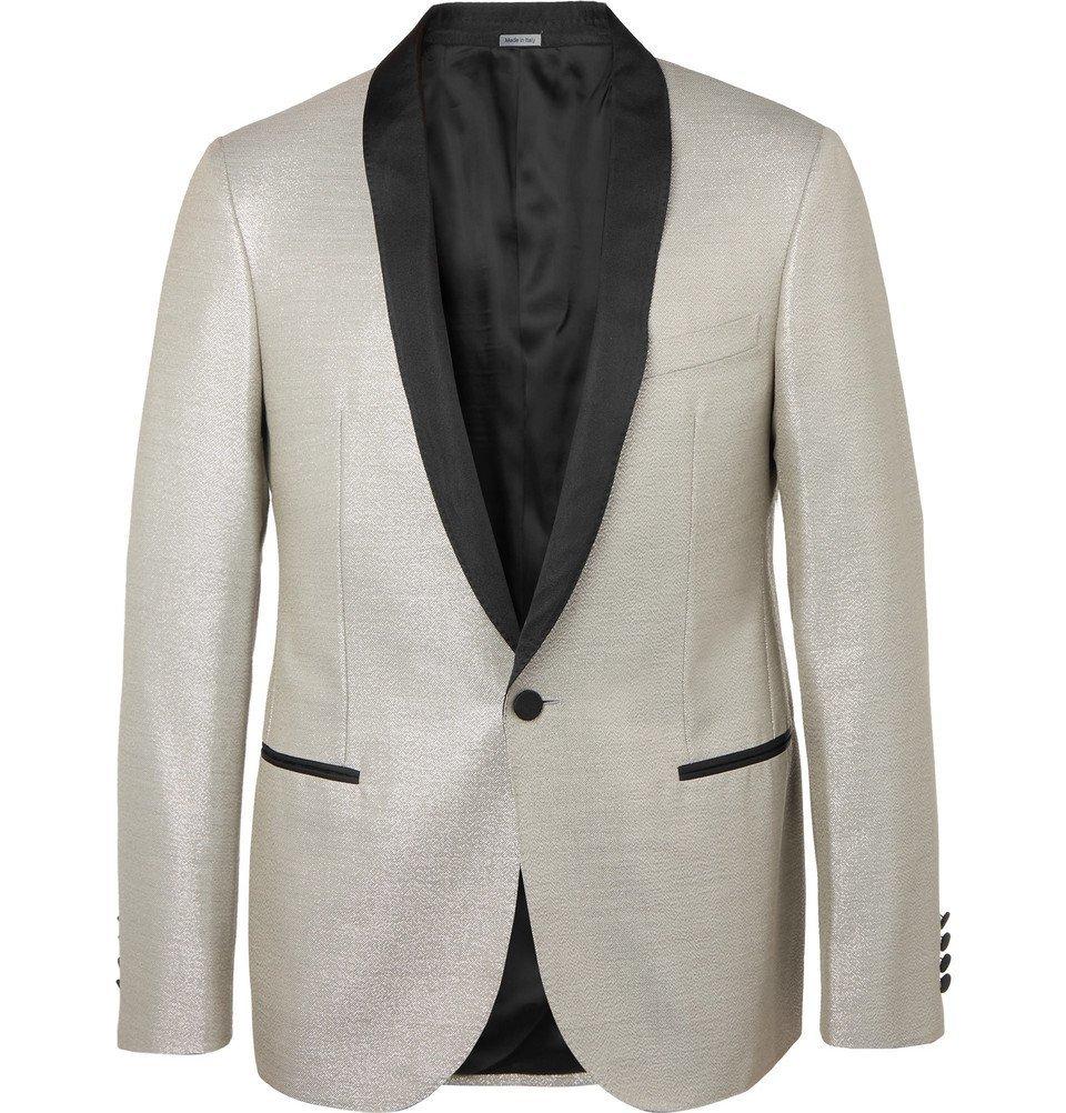 Photo: Lanvin - Silver Faille-Trimmed Wool-Blend Tuxedo Jacket - Silver