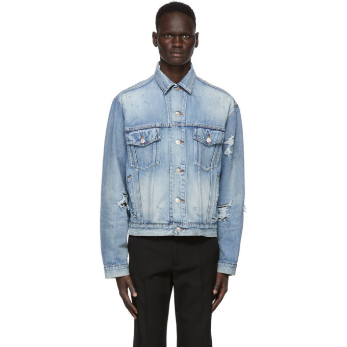 Photo: Balenciaga Blue Denim Ripped Jacket