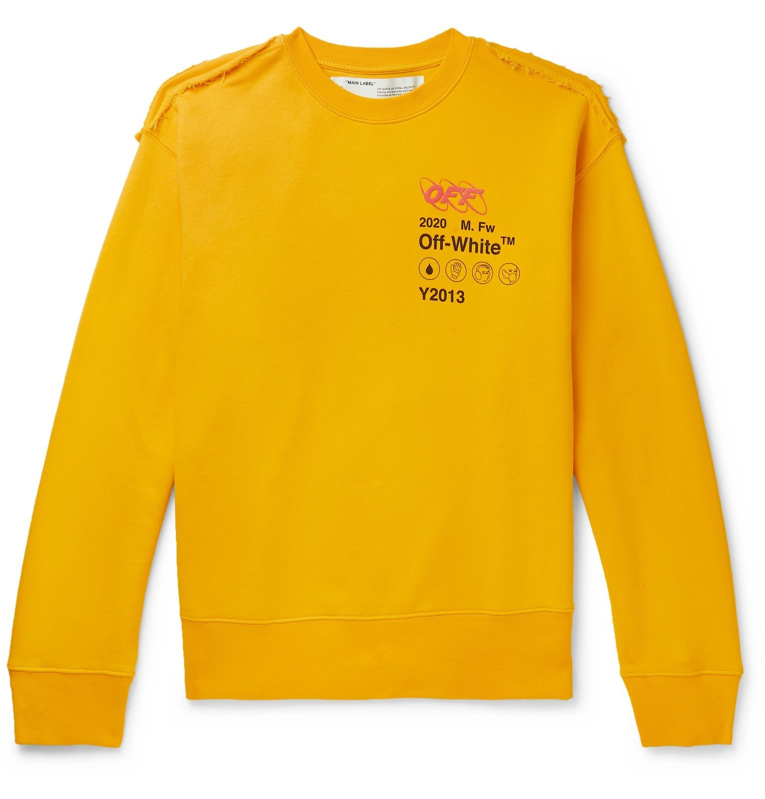Photo: Off-White - Distressed Embroidered Printed Cotton-Jersey and Terry Sweatshirt - Yellow