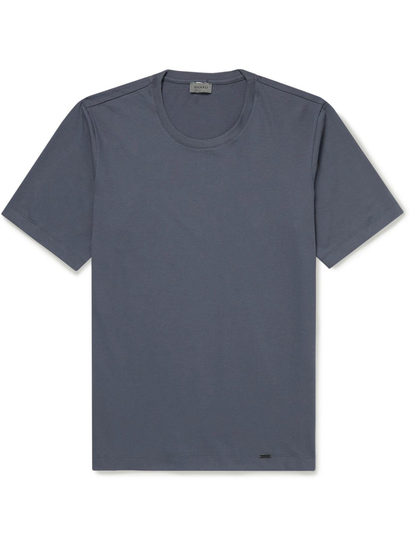 HANRO - Living Cotton-Jersey T-Shirt - Blue
